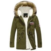 Wool Linner Men Down Jacket Army Green Winter Warm Men S Thick Warm Fur Collar Long
