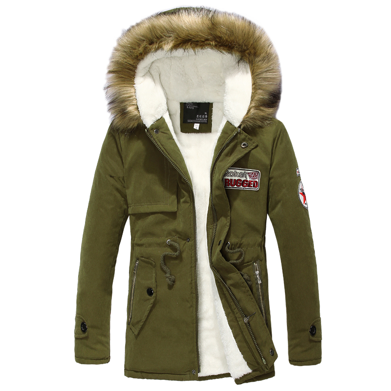 Wool Linner Men Winter Jacket Army Green 2019 Winter Men's Thick Warm Fur Collar Long Jackets Men Hooded Parka Men Coat