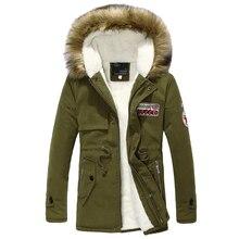 Linner lana hombres chaqueta de invierno verde del ejército 2018 hombres de invierno gruesa caliente Pieles de animales collar Chaquetas hombres parka con capucha hombres abrigo