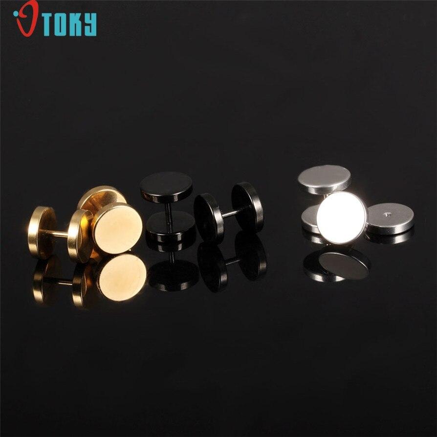 Stud Earrings OTOKY Gussy Life 2pc Stainless Steel Punk Dumbbell Earrings Men Women Ear Studs Piercing Mar13