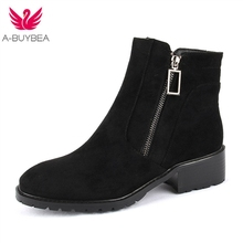 Women Ankle Boots Thick Heel Booties Female Round Toe Fashion Zipper Suede Solid Color Martin Boots New Arrivals Winter Shoes new women fringe western booties female casual suede low heel round toe boots shoes women ankle boots zipper platform shoes