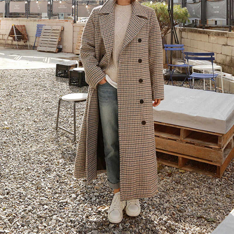 LANMREM 2019 Spring Loose Office Lady Coat Woman Long Sleeve Turn-down Collar Over Knee Double Breasted Woollen Overcoat TA064