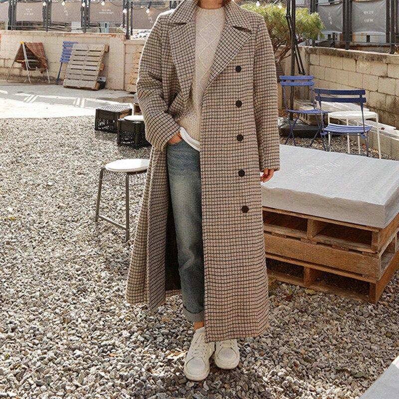LANMREM 2020 Spring Loose Office Lady Coat Woman Long Sleeve Turn  down Collar Over Knee Double Breasted Woollen Overcoat TA064Wool