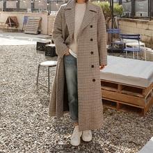 LANMREM 2020 primavera suelta Oficina señora abrigo mujer manga larga Turn down Collar sobre la rodilla doble pecho de lana sobretodo TA064