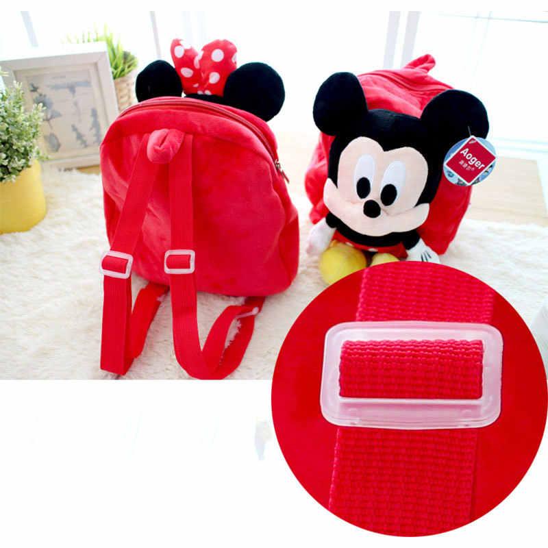 Mochila para niños de Disney Minnie Mickey Mouse dibujos animados escuela al aire libre bolsa peluda muñecas de felpa suave calidad segura PP algodón relleno