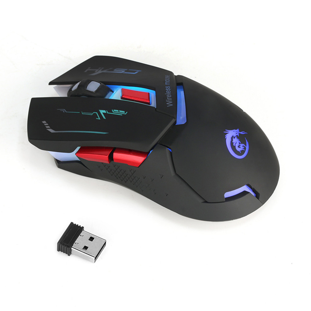 Wireless Gaming Mouse Mute USB Charging Colorful Luminous 2400dpi Gamer PC Laptop Computer Mice ZP30
