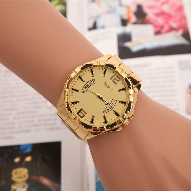 High quality golden steel watch men luxurious alloy wristwatches fashion imitative calendar quartz sport watch relogio masculino kcchstar the eye of god high quality 316 titanium steel necklaces golden blue