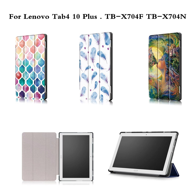 For Lenovo Tab 4 10 plus Paint With Magnet PU Leather Case for Lenovo TAB4 10 Plus TB-X704 TB-X704F TB-X704n Flip Cover tablet ultra thin smart flip pu leather cover for lenovo tab 2 a10 30 70f x30f x30m 10 1 tablet case screen protector stylus pen