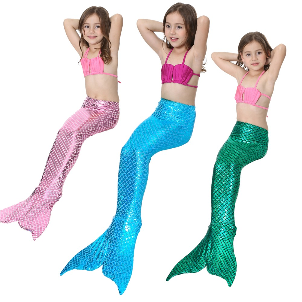 Multi Color Mermaid Tail Bikini de baño Swim Wear Cosplay disfraces - Disfraces