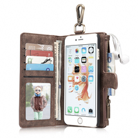 2 in 1 Combo Multifunction Card Slots Vintage Wallet Leather Flip Case For iPhone 6S Plus Wallet Phone Bags for iPhone 6SPlus