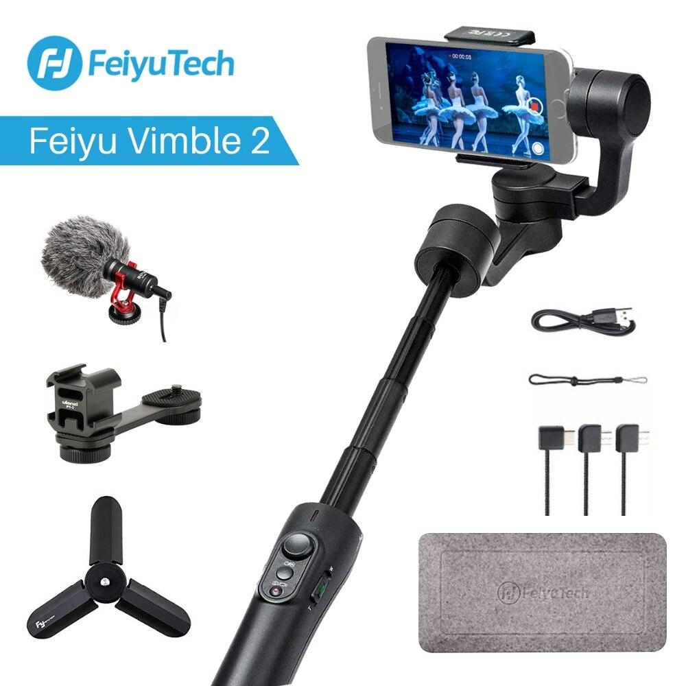 Feiyu vimble 2 extensível handheld telefone gopro cardan estabilizador de vídeo para o iphone x 8 7 gopro hero 6 xiaomi yi samsung s8
