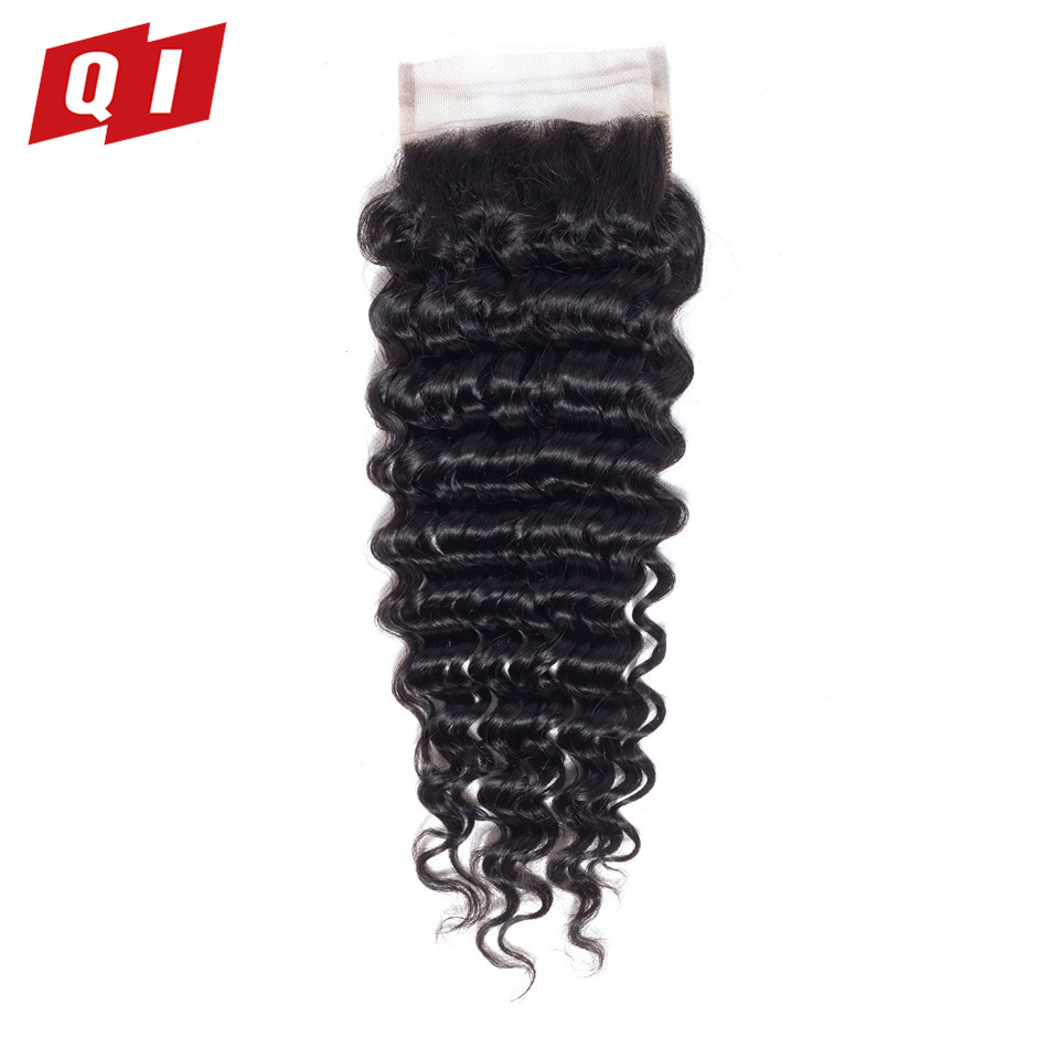 QI Hair Natural Color 4*4 Middle/Free/Three Part Lace Closure Brazilian Deep Wave Human Hair Weave 8-20 Inches Non-Remy Hair