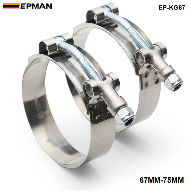 """2PCS 2.5/"""" inch Turbo Pipe Hose Coupler T-bolt Clamps Stainless Silver 67//75mm"""