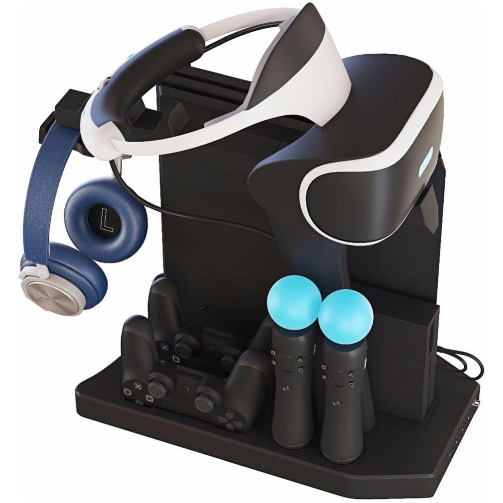 Pour PS4 VR 1/2 PS4 PS4 Pro Mince PSVR Vertical Stand, Contrôleur Chargeur Hub De Charge Présentoir Vitrine, ventilateur de refroidissement Refroidisseur