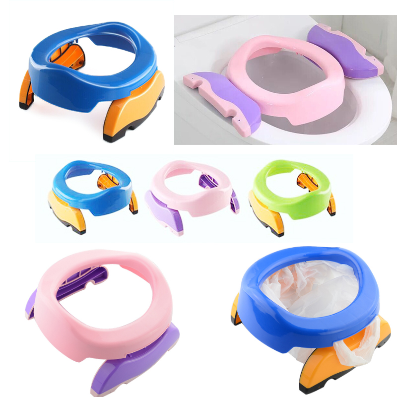 aa30b382e9c US $18.0 10% OFF|Baby Travel Potty Seat Folding Portable Toilet Seat  Children Kids Plastic Travel Toilet Ring chair with urine bag Training  Toile-in ...