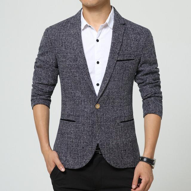 La nueva primavera 2015 hombres de la moda de alto grado de Color puro y cómoda de tamaño grande hombre de la marca Mens Blazers chaqueta de la chaqueta para hombre