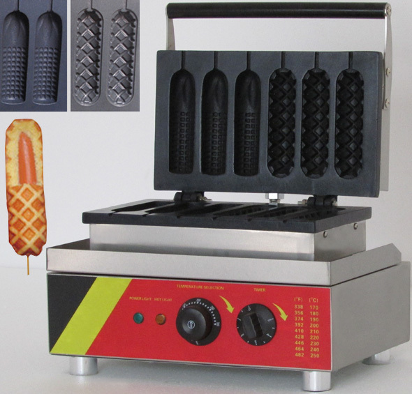 six pieces two shape Muffin hot dog & corn waffle  machine / lolly waffle maker machine