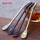8pcs/Set Yerba Mate Gourd Bombilla 4 Colored Tea Barware Filtered Straws Stainless Steel Drinking Straws Filter+2 Cleaning Brush
