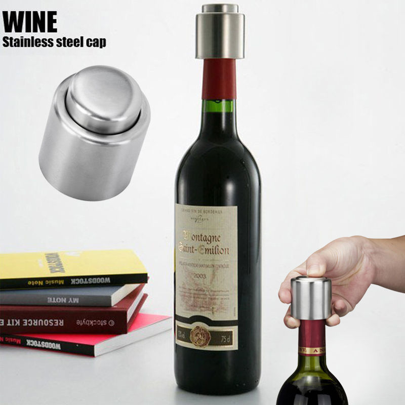 Free Shipping Stainless Steel Vacuum Sealed Red Wine Storage Bottle Stopper Plug Bottle Cap Hot sale