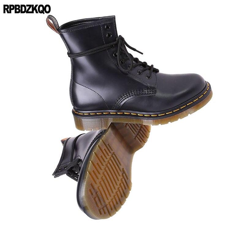 Zapatos Chunky Genuino Retro Ejército Lace Militar Hombres Cuero Diseñador Negro Otoño Tobillo Alta Botas Combate Grano Up De Completo Calidad BCawxq6