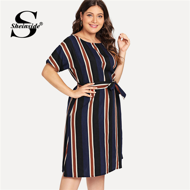 Sheinside Plus Size Colorblock Belt Striped Dress Women A Line Short Sleeve Summer Dresses 2019 Ladies Casual Flared Midi Dress 3