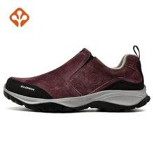 SALAMAN Women's Fur Leather Outdoor Hiking Trekking Shoes Sneakers For Female Winter Climbing Mountain Shoes Sneakers Woman