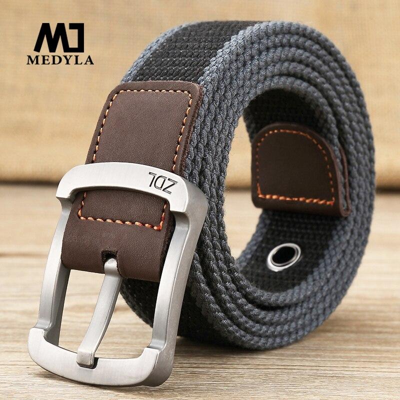 MEDYLA cinturón militar al aire libre tactical cinturón de los hombres y las mujeres de alta calidad cinturones de lona para vaqueros de hombre lujoso casual correas de vestir