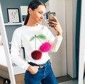 Горячие продажи Новых Продуктов 2017 Осень Зима Прекрасные Моды 3D Мороженое Красочные Вишни Помпон Меха Мяч женские Пуловеры