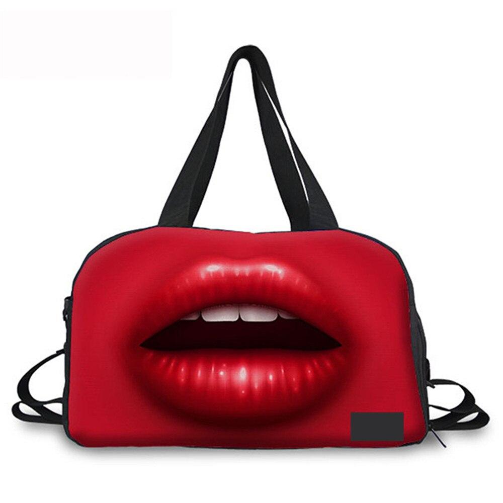 Шумный конструкции большой Ёмкость Портативный дорожные сумки Сексуальные губы напечатаны Для женщин Бизнес дорожная сумка складная леди ...