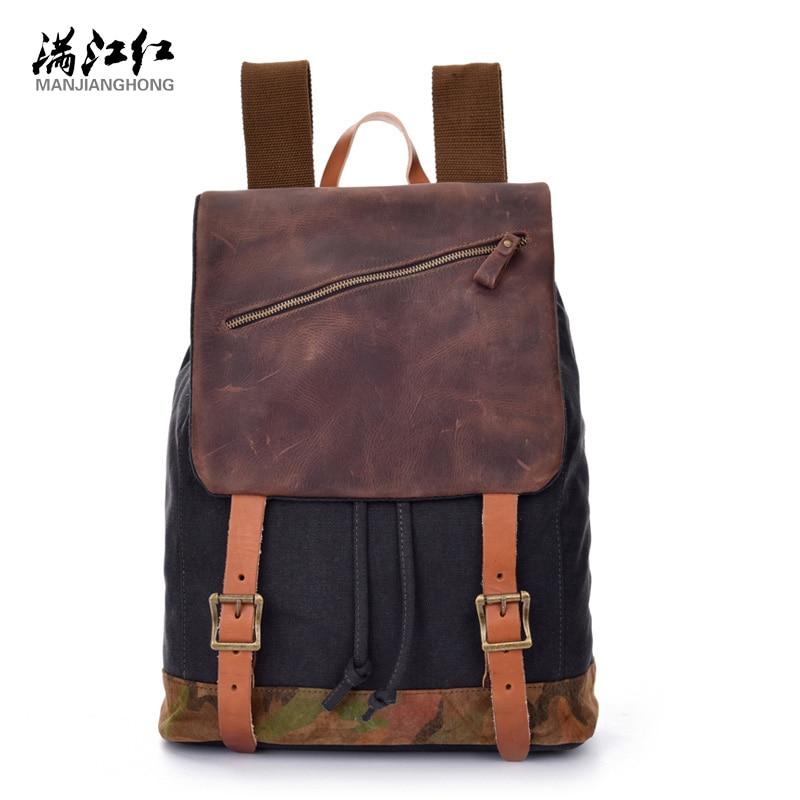 Manjianghong Washed Cotton Canvas Backpack Bag Cow Leather Bag Vintage Man's Backpack Bag Mochila Bag Lona 1515