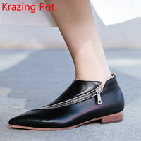 2018 Fashion Cow Leather Lazy Style Zipper Decoration Pointed Toe Runway Handmade Thick Low Heels Classic