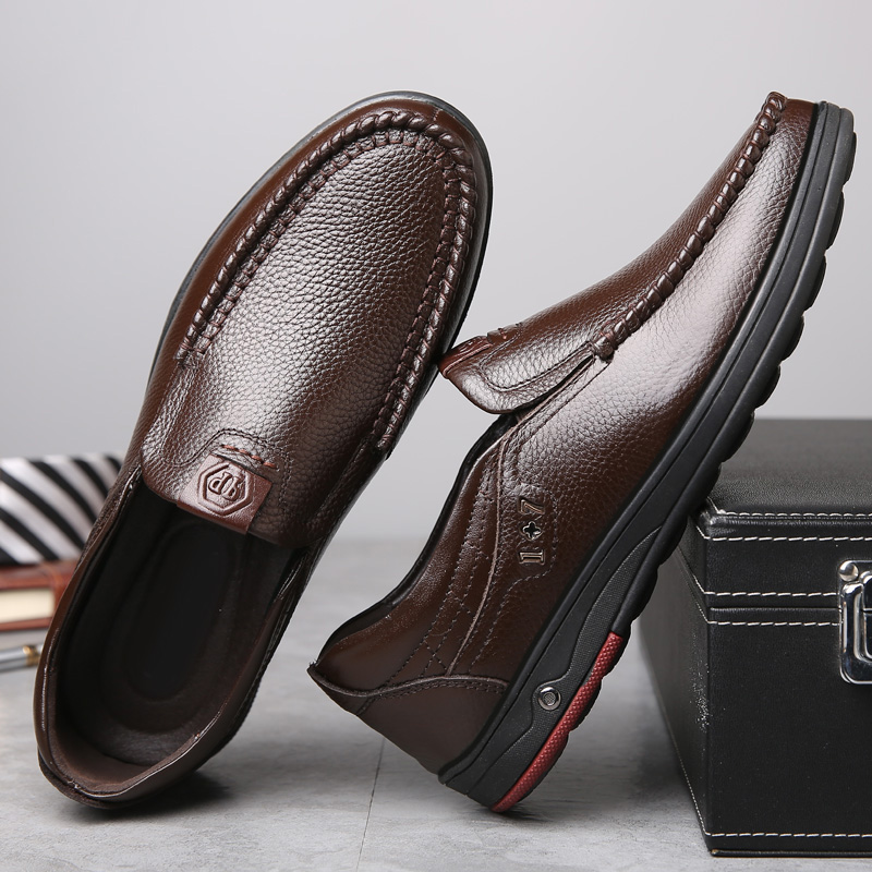 New 2019 Plus Size 48 Solid Men Casual Leather Shoes Slip On Lazy Single Shoes Man Loafers Business Office Work Shoes For Male 1