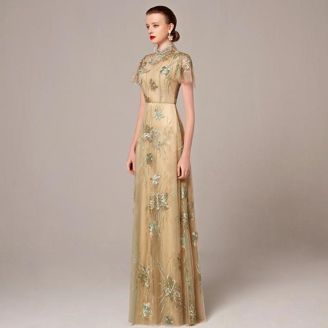 c92a4a1a1 Coniefox nuevos estilos con cuentas verde de encaje bordado estilo chino  vestidos de baile vestido de