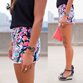 Top quality High Waist color dot Print hot short beachwear 2015 womens printed shorts Elastic sexy casual short shorts for Women