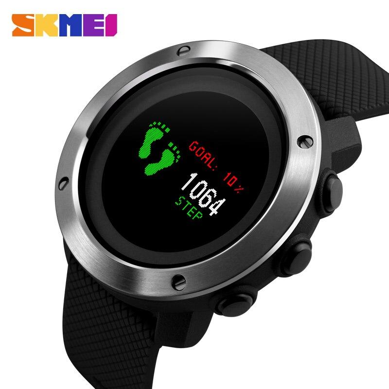 Skmei Sport Mode Homme Montre L'eau resisitant LED affichage Casual Acier Inoxydable montre-bracelet 2 Temps Semaine Affichage en plein air Horloge