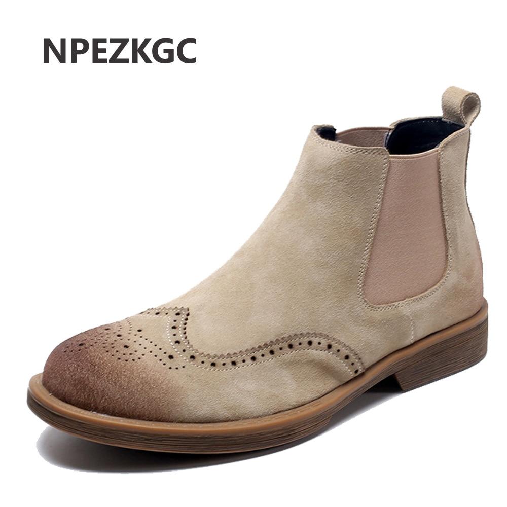 060f978dd08edd Bottes Bot khaki Chelsea Homme Chaussures Pour Cuir Black Cheville Air  Nouveaux Hiver Chaussons brown gray ...