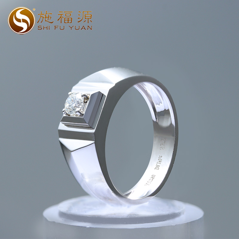 ShiFuYuan Classic 18k White Gold High Quality Natural Diamond Mens Ring for Wedding ...