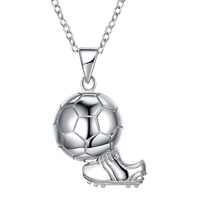 925 Shoes Soccer World Cup Sports Sterling Silver Necklace Jewelry for Men Women Children Gift Pendant Necklace SVN253
