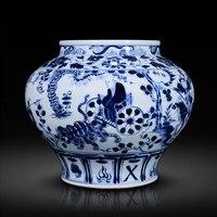 Antique Yuan Chinese Blue and White Porcelain Figure Vases GUIGUZI