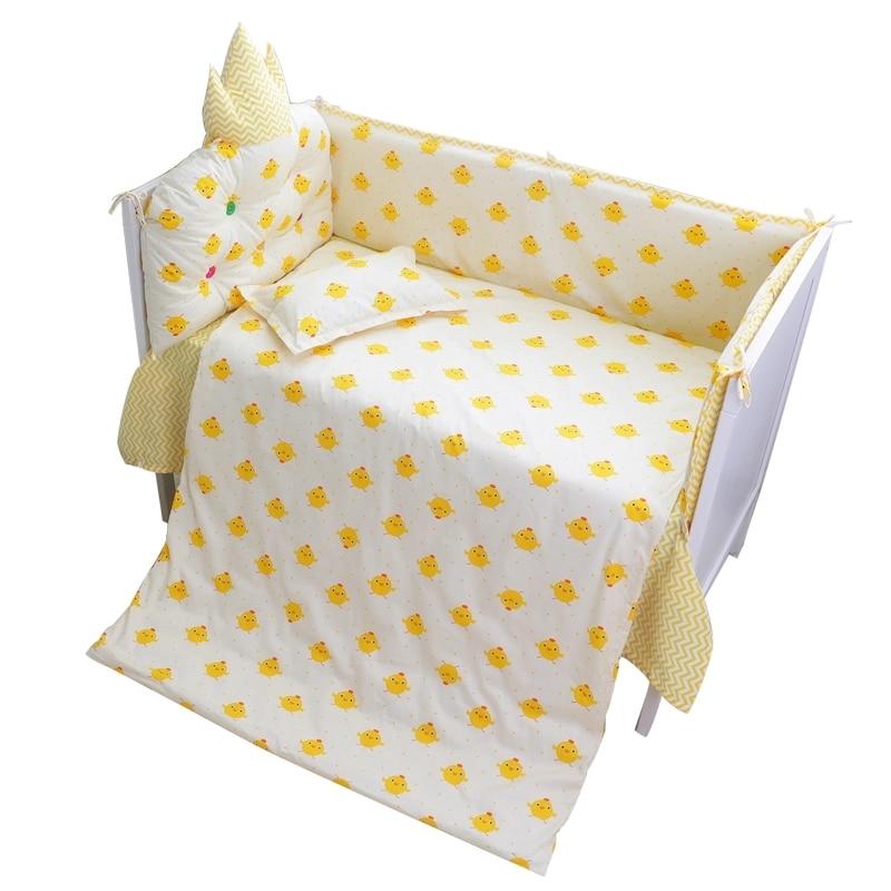 Parure de lit bébé à motif de poussin   Accessoires de literie pour lit de bébé 1 pièce, drap de lit/housse de couette/oreiller/sac à couches de rangement pour berceau