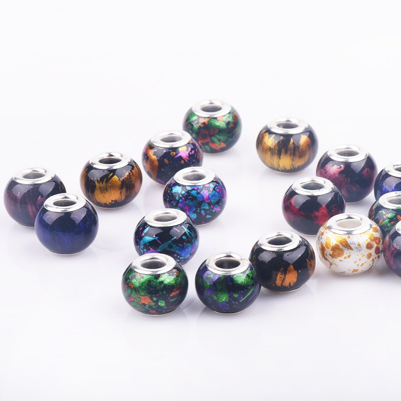 10Pcs/Lot Mixed Dark Color Big Hole Round Loose Glass Beads Charms fit European Pandora DIY Jewelry Bracelet Necklace Making