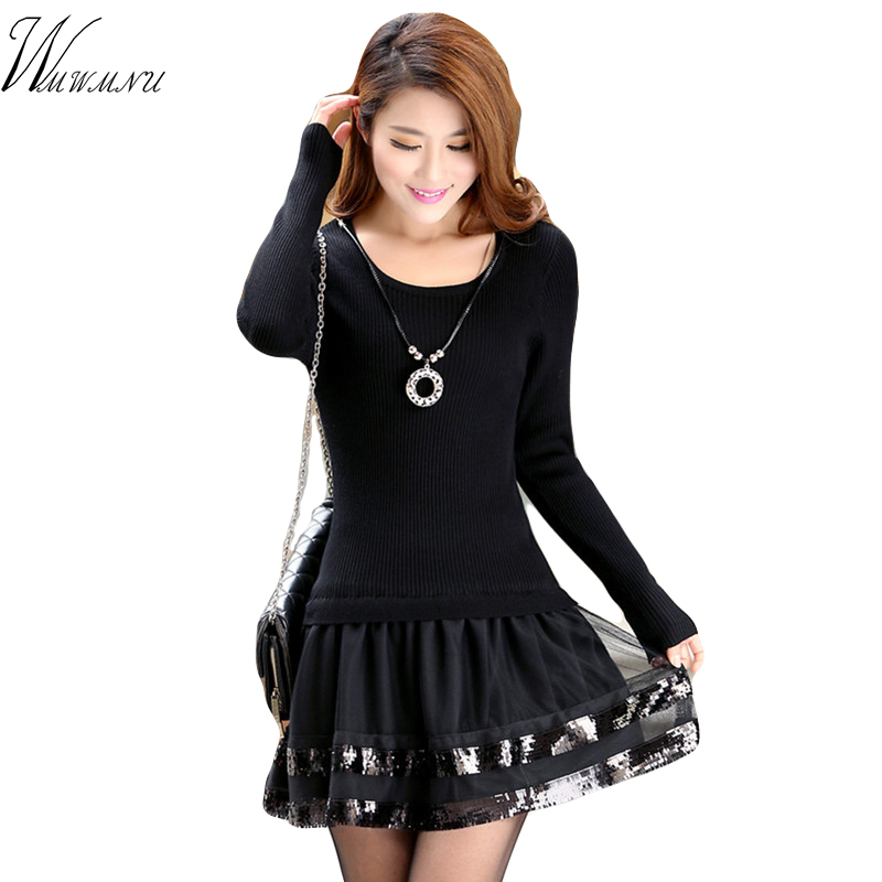 WMWMNU s fashion patchwork vintage bodycon dress ladiess slim long sleeve knitted dress Ms black lace evening party mini dress