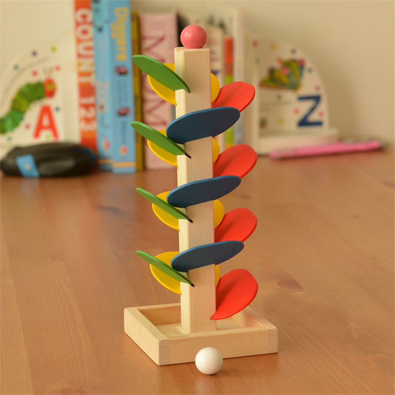 цена на 2017New Educational Toy Blocks Wooden Tree Marble Ball Run Track Game Baby Kids Intelligence Wooden Baby Children Cheap Toy Gift