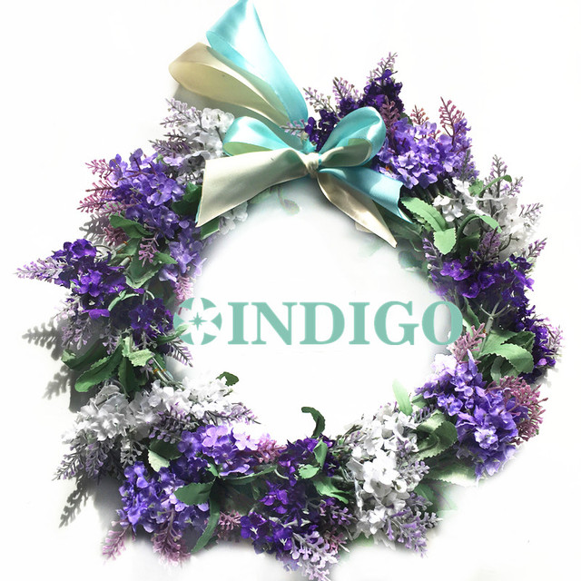 INDIGO Door Hunging Wreaths Diameter 28cm Purple Lavender  RomanticDecorative Silk Flower Wedding Flower Christmas Free