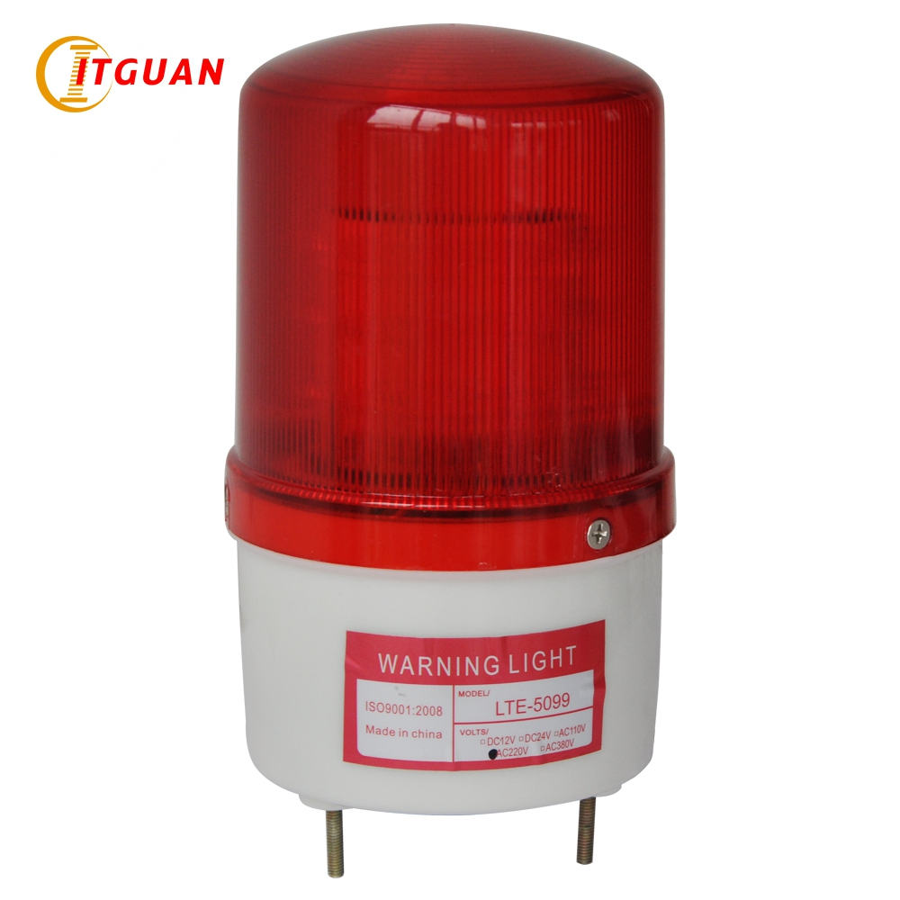 LTE-5099 Led Strobe Warning Light DC12V/24V,AC220V With Bolt Bottom Red Color police beacon light alarm light lte 5071j led strobe warning light alarm dc12v 24v ac220v signal emergency lamp with buzzer sound 90db beacon light