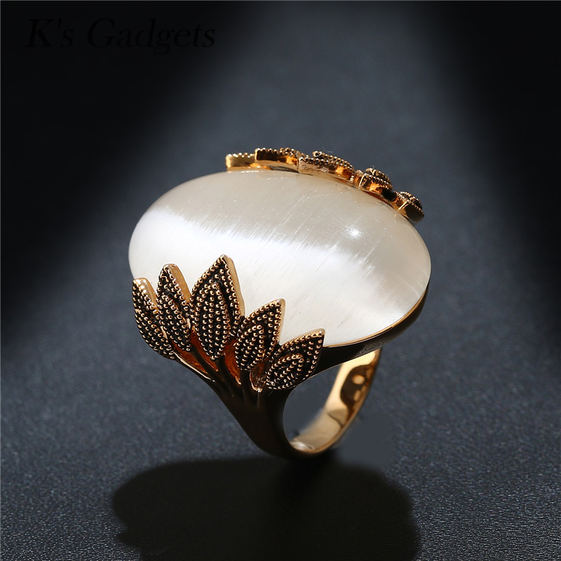 Antique Rose Gold Color Wedding Rings Oval Big Natural Opal Stone Vintage Ring For Women Jewelry Anillos Grandes De Mujer