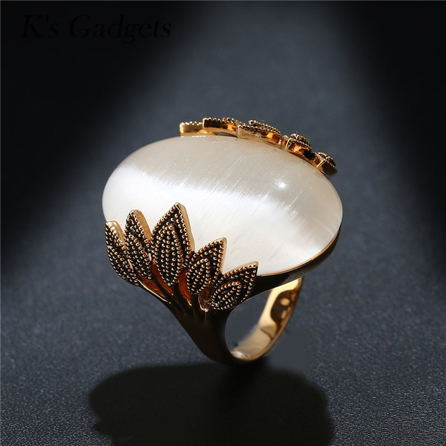 Antique Rose Gold Color Wedding Rings Oval Big Natural Opal Stone