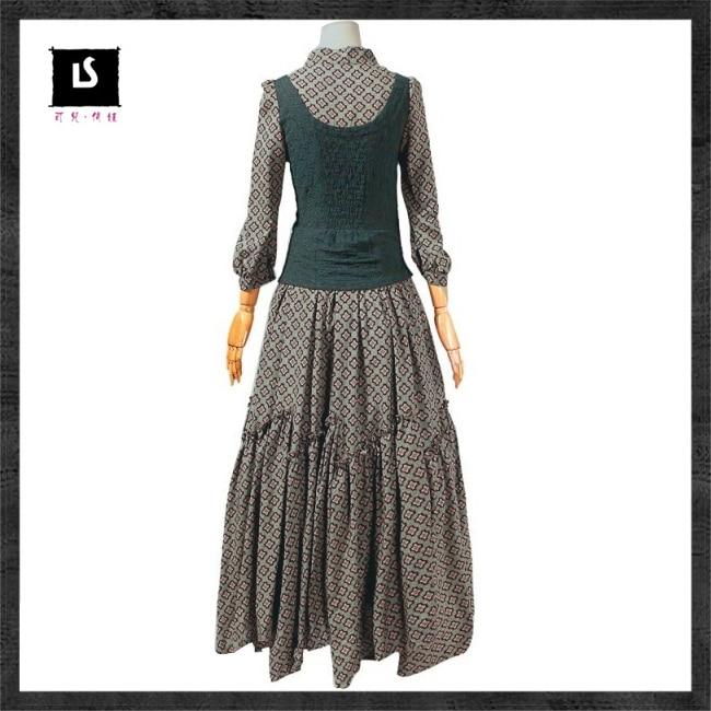 Summer Women Dress 2018 Keer Vintage Tunic Cotton Combo Dresses Mandarin  Collar Three Quarter Sleeve Maxi Vestido A6526 Feminina-in Dresses from  Women's ...