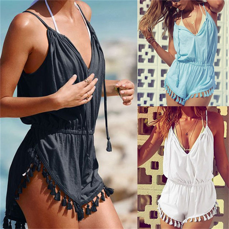 JAYCOSIN Jumpsuits V-Neck High-Waist Sexy Summer Casual Tassel Solid Cami