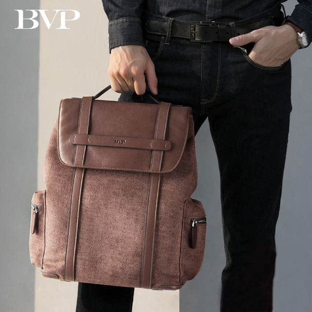 High Quality Brand BVP Fashion Large Capacity Business Men s Cow Leather  Backpack Leisure Travel Man 14 fe023ac691